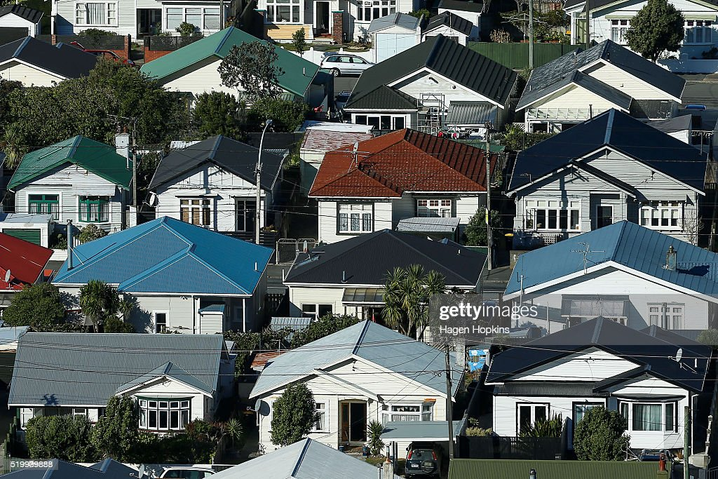 A general view of houses in the suburb of Lyall Bay on April 9, 2016 in Wellington, New Zealand. Increased demand for property in Wellington has seen house prices increase by 7.5 per cent in the past year. The average value of a house in the Wellington region is now $491,236, up 3.1 per cent over the past three months.