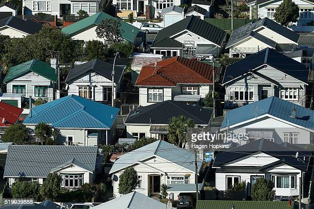 A general view of houses in the suburb of Lyall Bay on April 9 2016 in Wellington New Zealand Increased demand for property in Wellington has seen...