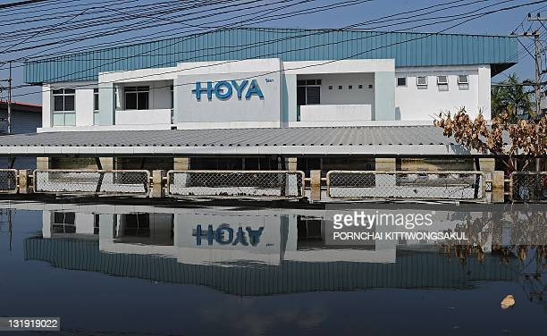General view of Hoya factory surrounded by floodwaters at a Hi-Tech industrial estate in Ayutthaya province on November 8, 2011. Thailand's prime...