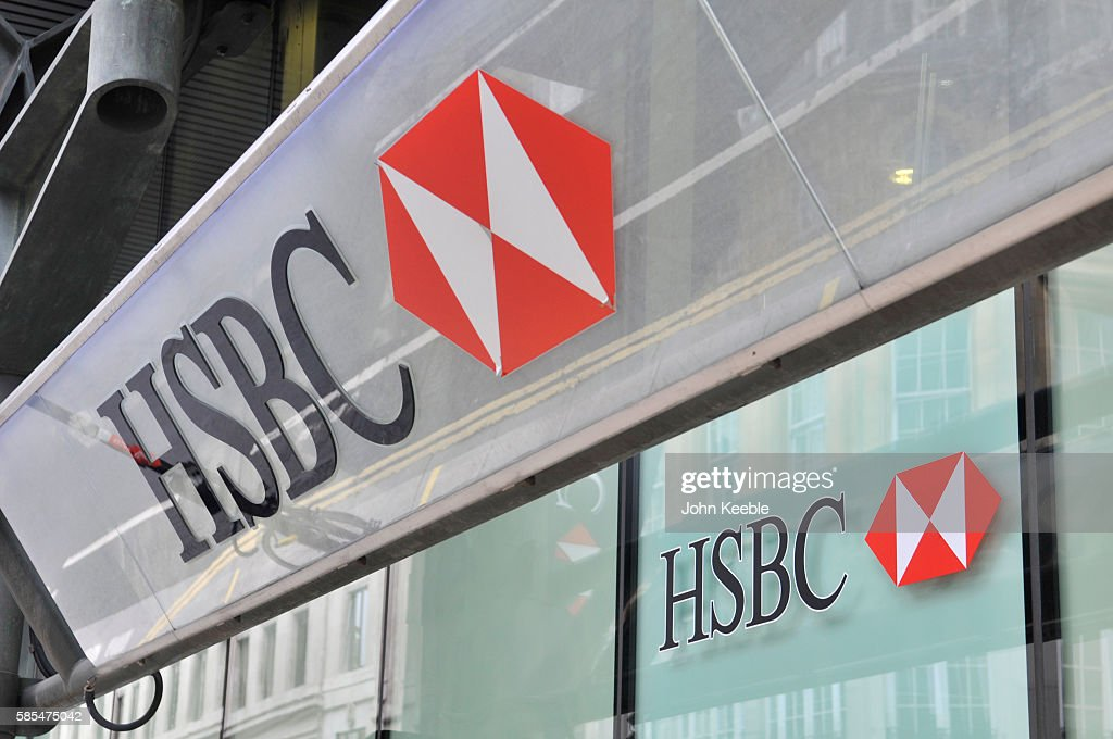 A general view of HSBC bank signage on July 28, 2016 in London