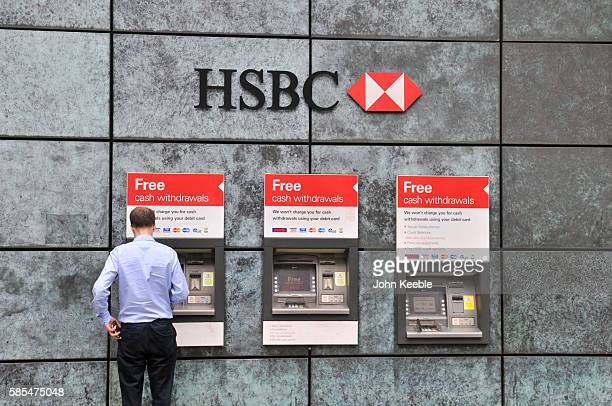 General view of HSBC bank teller machines and signage on July 28, 2016 in London, England.