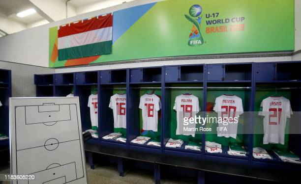 A general view of Hungary's locker room ahead of the FIFA U17 World Cup Brazil 2019 Group B match between Nigeria and Hungary at Estadio Olimpico de...