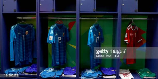A general view of Hungary's locker room ahead of the FIFA U17 World Cup Brazil 2019 Group B match between Hungary and Ecuador at Estadio Olimpico de...