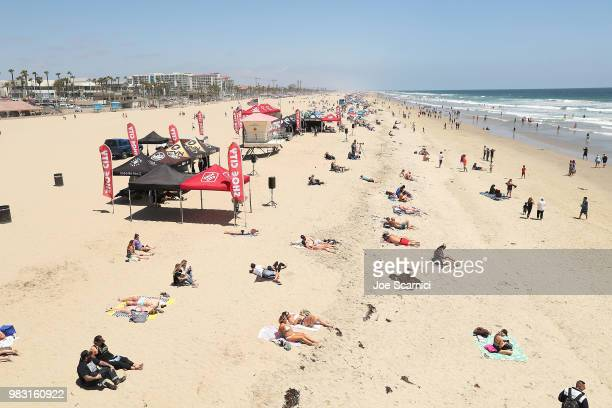 A general view of Huntington Beach during the 2018 Shoe City Pro at the Huntington Beach Pier on June 24 2018 in Huntington Beach California