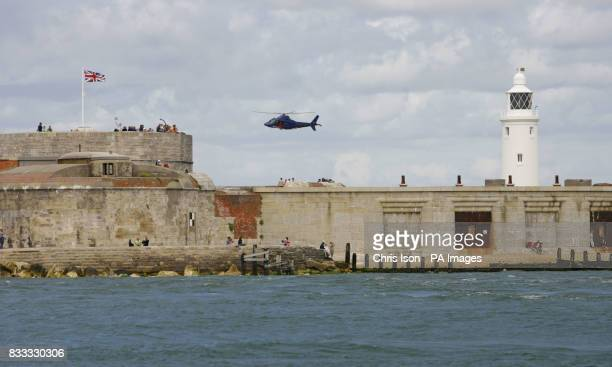 General view of Hurst Castle and the light house on the peninsular at Hurst in the New Forest The fort and light guard the western approach into The...