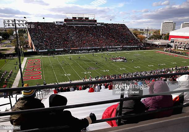 A general view of Huskie Stadium and Brigham field as the Northern Illinois Huskies take on the Eastern Michigan Eagles at Brigham Field on October...