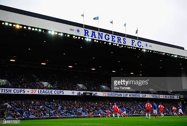 General view of Ibrox during the IRN-BRU Scottish Third Division match between Rangers and Stirling Albion at Ibrox Stadium on March 23, 2013 in...