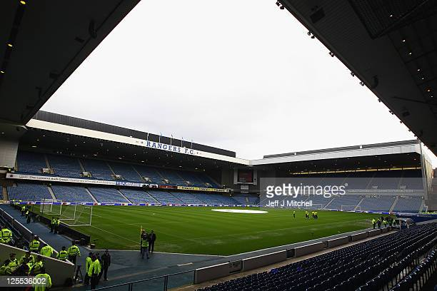 A general view of Ibrox Stadium ahead of the Clydesdale Bank Premier League match between Rangers and Celtic at Ibrox Stadium on September 18 2011 in...