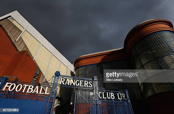 A general view of Ibrox Stadium is seen ahead of the EURO 2016 Qualifier match between Scotland and Georgia at Ibrox Stadium on October 11 2014 in...