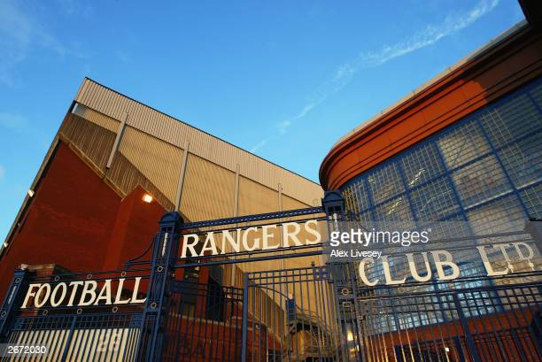 General view of Ibrox Stadium taken during the UEFA Champions League Group E match between Glasgow Rangers and Manchester United held on October 22,...