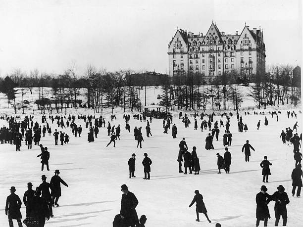A General View of Ice Skaters in Central Park, on a...
