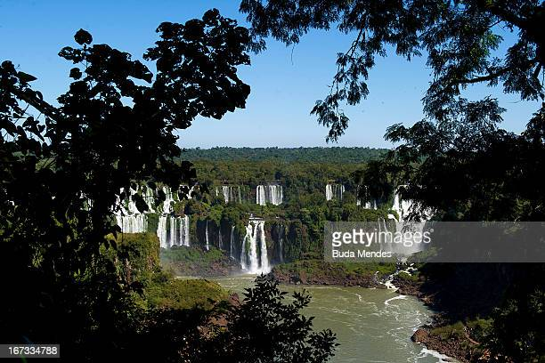 General view of Iguazu Falls on April 24 2013 in Foz do Iguacu Brazil The area of Iguazu Falls is a set of about 275 waterfalls in the Iguazu River...