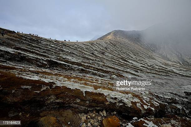 A general view of Ijen Crater which is known as Kawah Ijen located in the Ijen Volcano region bordered by Banyuwangi and Bondowoso on July 9 2013 in...