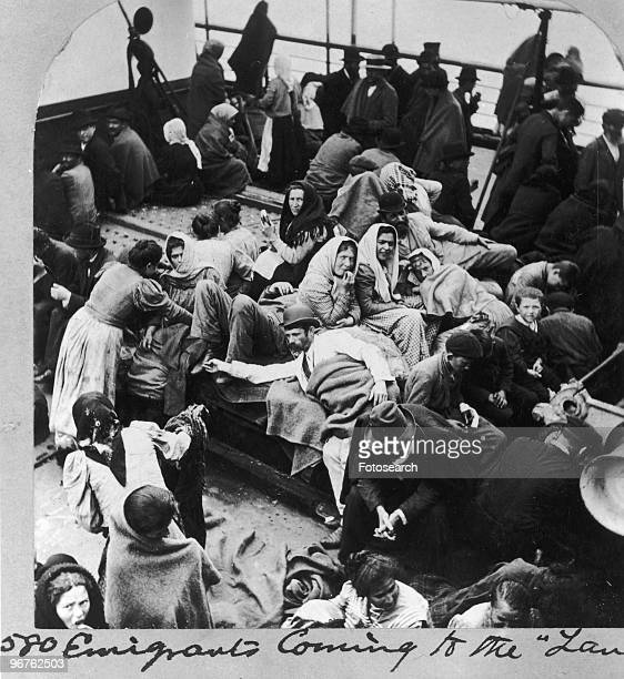 A General View of Immigrants on Ellis Island New York circa 1880