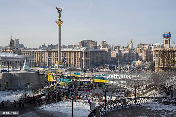 A general view of Independence Square on January 27 2013 in Kiev Ukraine Unrest is spreading across Ukraine with activists taking over municipal...