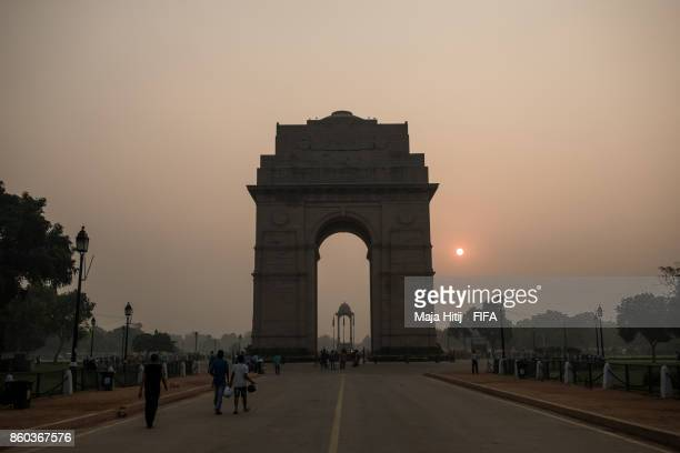 General view of 'India Gate' ahead of the FIFA U17 World Cup India 2017 tournament at on October 12 2017 in New Delhi India