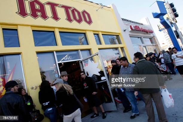 A general view of LA Ink December 14 2007 in West Hollywood California Kat Von D is attempting to break the 24hour Guinness World Tattoo Record