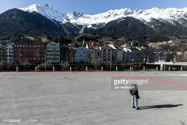 General view of Innsbruck one hour before the curfew was enforced as part of restrictions imposed by the Austrian government to stem the spread of...