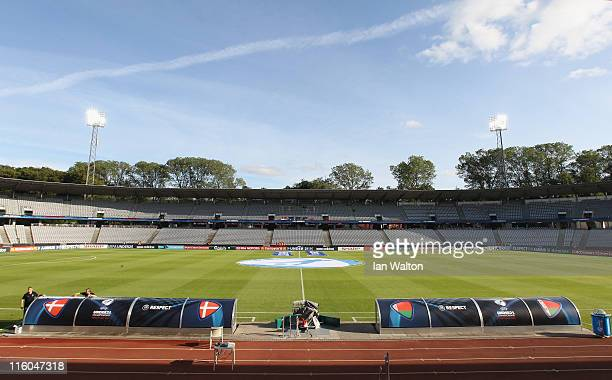 A general view of inside Aarhus stadium before the UEFA European Under21 Championship Group A match between Denmark and Belarus at the Aarhus stadium...