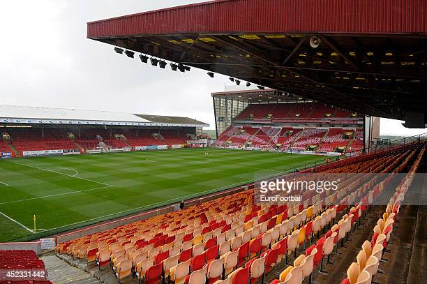A general view of inside Pittodrie Stadium before the Scottish Premiere League match between Aberdeen FC and Motherwell FC at Pittodrie Stadium on...