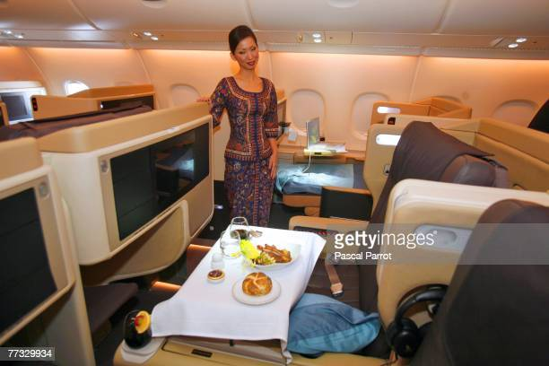 A general view of inside the business class section of the new Singapre Airlines Airbus A380 on October 15 2007 in Toulouse France The first A380 the...