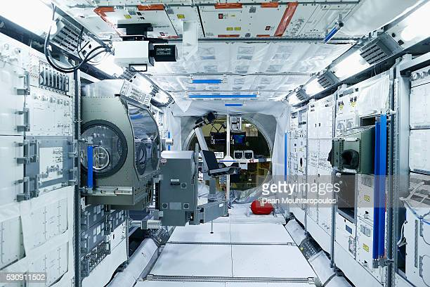 General view of inside the Columbus replica / simulator as is attached to the International Space Station or ISS in the ESAs Planetary Robotics Lab,...