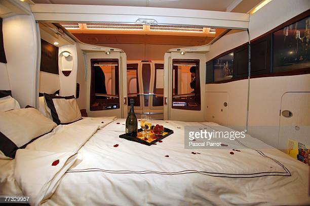 A general view of inside the first class twin cabin section of the new Singapre Airlines Airbus A380 on October 15 2007 in Toulouse France The first...