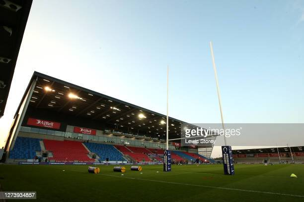 General view of inside the stadium is seen during the Premiership Rugby Cup Final between Sale Shark and Harlequins at AJ Bell Stadium on September...