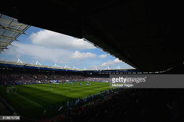 A general view of inside the stadium prior to the Barclays Premier League match between Leicester City and Southampton at The King Power Stadium on...