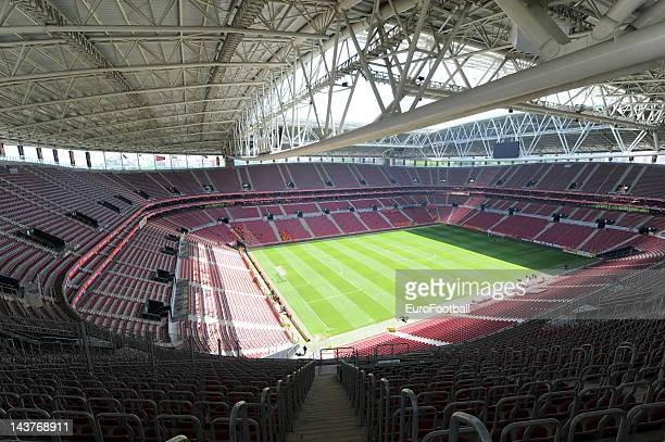 General view of inside the Turk Telekom Arena, home of Galatasaray FC before the Turkish Super League match between Galatasaray and Trabzonspor on...
