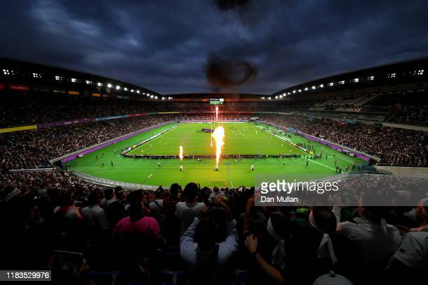 A general view of International Stadium Yokohama during the Rugby World Cup 2019 SemiFinal match between England and New Zealand at International...