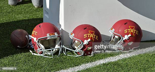 A general view of Iowa State Cyclones helmets on the sideline during a game against the Kansas State Wildcats on November 21 2015 at Bill Snyder...