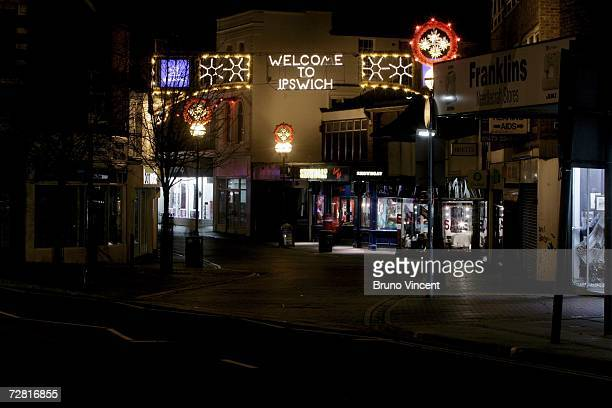 A general view of Ipswich's main shopping street near to the red light district on December 13 2006 in Ipswich England Police have removed one of two...