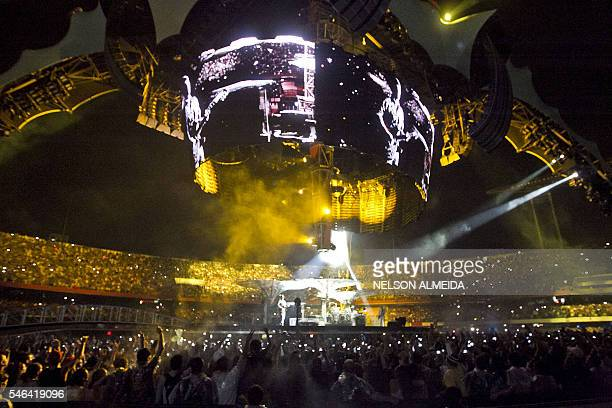 General view of Irish rock band U2 performing on stage during the 360° Tour at Morumbi stadium in Sao Paulo Brazil on April 9 2011 AFP PHOTO / Nelson...