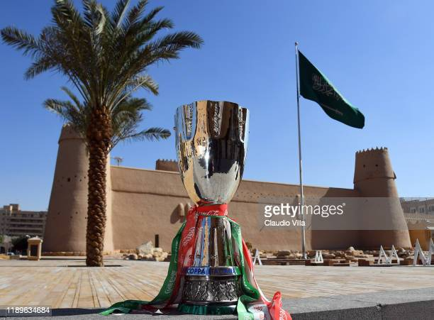 General view of Italian Supercup trophy ahead of the match between Juventus and SS Lazio on December 19, 2019 in Riyadh, Saudi Arabia.
