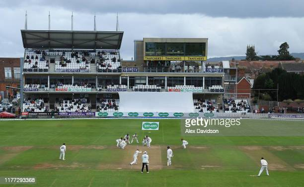 A general view of Jack Leach of Somerset bowling during Day Four of the Specsavers County Championship Division One match between Somerset and Essex...