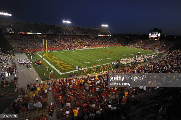 General view of Jack Trice Stadium during the Oklahoma State Cowboys game against the Iowa State Cyclones on November 7, 2009 in Ames, Iowa. Oklahoma...