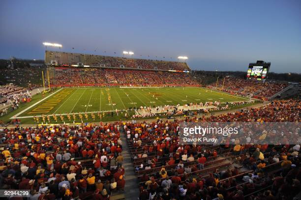 General view of Jack Trice Stadium during the Oklahoma State Cowboys game against the Iowa State Cyclones on November 7 2009 in Ames Iowa Oklahoma...