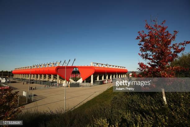 General view of Jahnstadion before the Second Bundesliga match between SSV Jahn Regensburg and 1. FC Nürnberg at Jahnstadion on September 18, 2020 in...