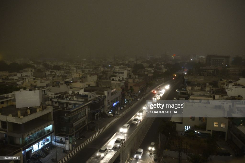 General view of Jalandhar during a dust storm on May 12 2018