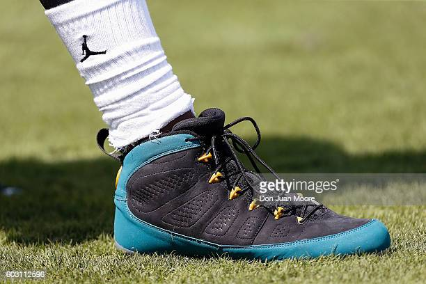 A general view of Jalen Ramsey of the Jacksonville Jaguars exclusive Air Jordan IX cleats and socks before the game against the Green Bay Packers at...