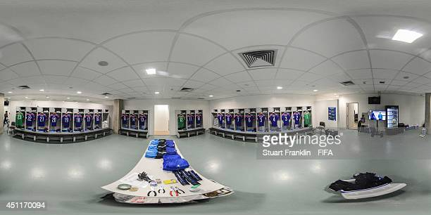 A general view of Japan dressing room before the 2014 FIFA World Cup Brazil Group C match between Japan v Colombia at Arena Pantanal on June 24 2014...