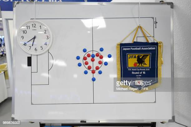 General View of Japan pennant hanging up on a whiteboard in Japan dressing room prior to the 2018 FIFA World Cup Russia Round of 16 match between...
