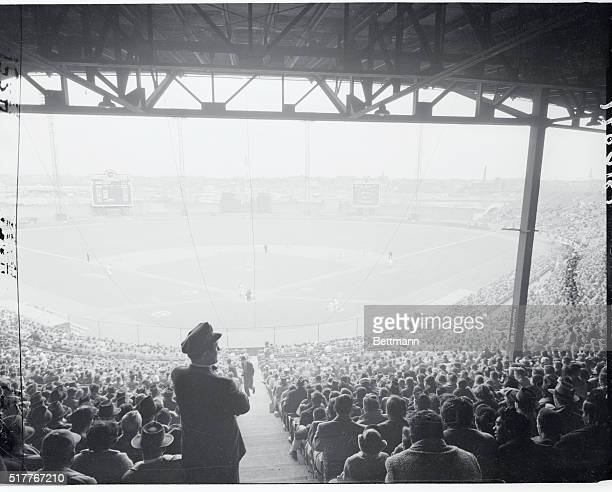 General view of Jersey City New Jersey Roosevelt Stadium as Dodgers played the Phillies
