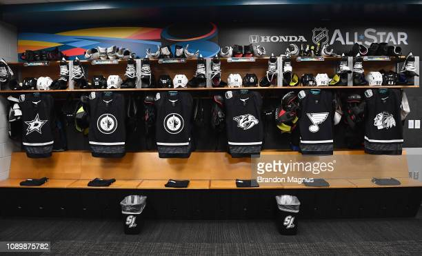 A general view of jerseys is seen hanging in the Western Conference team locker room before the 2019 Honda NHL AllStar Game at SAP Center on January...