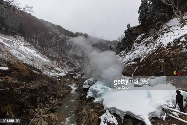 A general view of Jigokudani Valley and the foutain of Jigokudani hot spring on February 17 2018 in Yamanouchi Nagano Japan According to the official...