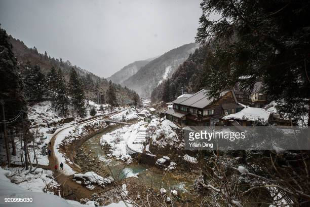 A general view of Jigokudani Valley on February 17 2018 in Yamanouchi Nagano Japan According to the official website The troops of wild Japanese...