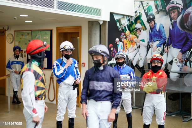 General view of jockeys in the weighing room before making their way to the parade ring at Ascot Racecourse on May 08, 2021 in Ascot, England. Only...