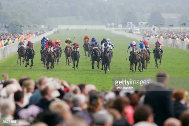 A general view of jockeys racing on the flat on the second day of Royal Ascot Races 2005 at York Racecourse on June 15 2005 in York England One of...