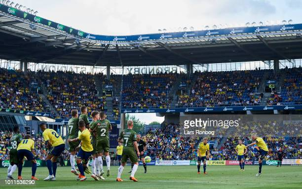 General view of Johan Larsson of Brondby IF taking a freekick during the Danish Superliga match between Brondby IF and FC Nordsjalland at Brondby...